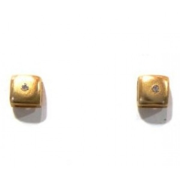 pendientes oro y circonita simple