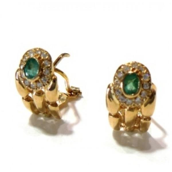 Pendientes oro y esmeralda 1