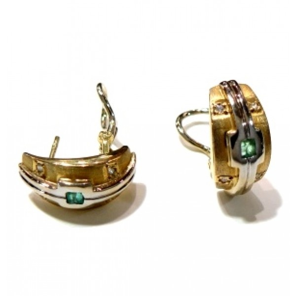 Pendientes oro y esmeralda 2