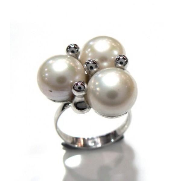 Anillo plata y 3 perlas