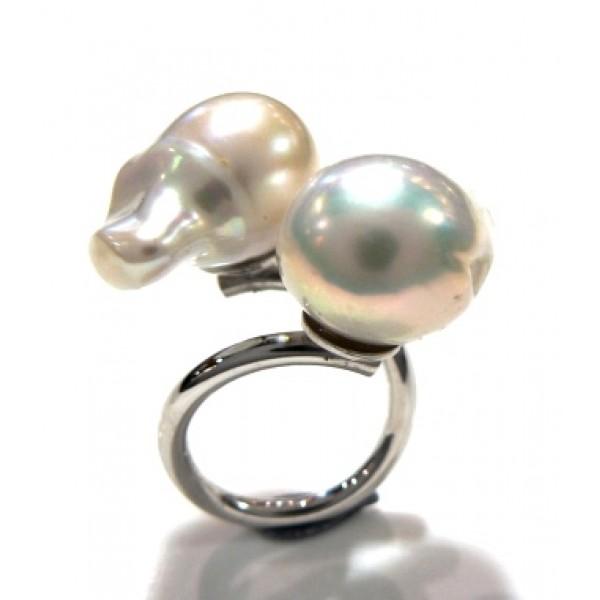 Anillo plata y 2 perlas