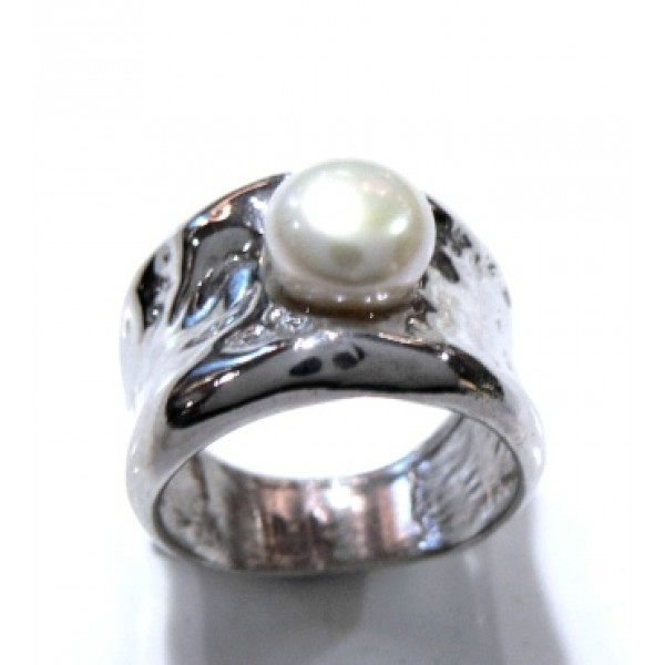 Anillo cinta plata con perla