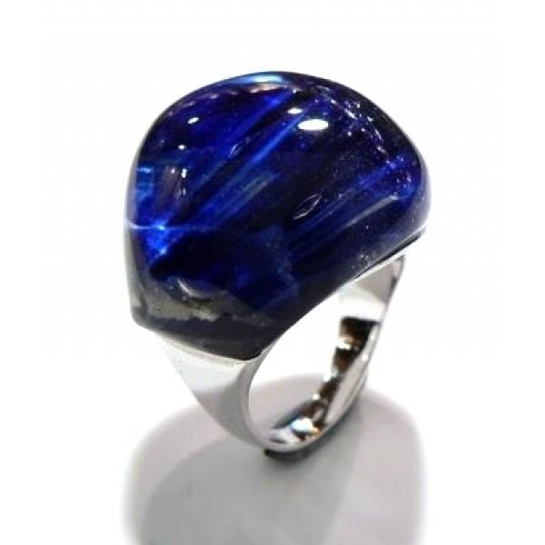 Anillo plata piedra grande azul
